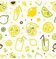 lemonade and citrus fruits seamless pattern vector image vector image