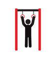 man training with gymnastics rings silhouette icon vector image