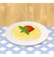 Pasta with Tomato Sauce and Basil on a Plate vector image