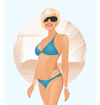 pretty girl on summer background vector image vector image