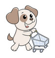 puppy with shopping cart vector image vector image