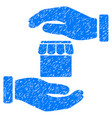 real estate insurance hands icon grunge watermark vector image