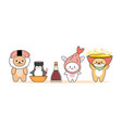 set animals with japanese food on head on white vector image vector image