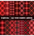 Set Tartan Seamless Pattern in red colors vector image vector image