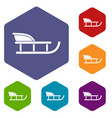 sled icons set vector image