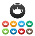 small teapot icons set color vector image