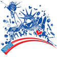 statue liberty with icon set on flag vector image