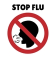 Stop flu sign Coughing man in prohibition frame vector image vector image