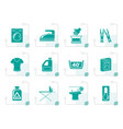 stylized washing machine and laundry icons vector image vector image