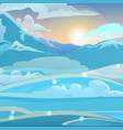 sunrise in snowy mountains sketch vector image vector image