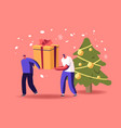 tiny male characters pull huge gifts box on snowy vector image vector image