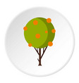 tree with fruit icon circle vector image vector image