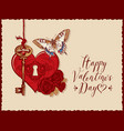valentine card with heart key roses and vector image vector image
