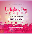 valentines day sale background with red heart vector image