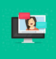 video chatting online on computer vector image