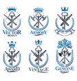vintage weapon emblems set vintage design vector image vector image