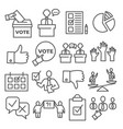 vote line icons set on white background vector image