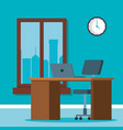 workplace office scene icons vector image vector image