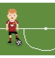 pixel art style football soccer player on green vector image