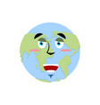 earth happy emoji planet merry emotion isolated vector image