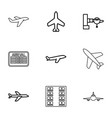 9 airline icons vector image vector image