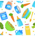 baby food seamless pattern healthy first meal vector image vector image