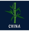 Bamboo stem with green foliage flat style vector image
