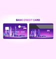 bank card night city vector image