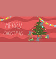 banner merry christmas mice decorate vector image