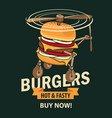 banner with burger in retro style vector image vector image