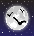 bats on background full moon vector image vector image
