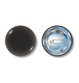 black pin button front and back side vector image vector image