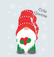 christmas winter card with cute gnome vector image vector image