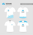 company logo design t - shirts with blue theme vector image