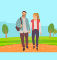couple go in park lovers walking outdoor vector image vector image