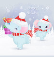 cute christmas greeting card with elephants vector image vector image