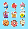 cute sticker set collections vector image
