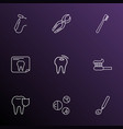 dental icons line style set with carries defense vector image