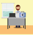 doctor in consulting room computer desk medical vector image