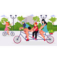 family rides bicycles in city park flat vector image vector image