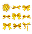gift box golden bows realistic golden silk ribbon vector image