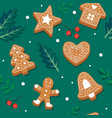 gingerbread cookie pattern festive background vector image vector image