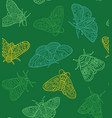 green contour butterfly and moth set vector image vector image