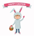 Greeting card Easter rabbit boy kid with basket vector image vector image