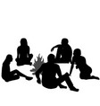 group of tourists relaxing near campfire vector image