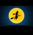 halloween silhouette witch on broom moon graveyard vector image vector image