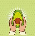 hand holding fresh fruit avocado vector image vector image