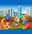 happy kindergarten children playing in the playgro vector image vector image