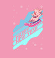 happy new year card cute pig on sled vector image vector image