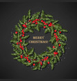 holly wreath with berries vector image